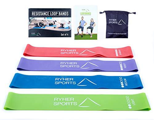 Rhyer bande elastiche resistenza glutei - set di 4 elastici fitness- attrezzi palestra per casa, crossfit, squat, pilates, fisioterapia, stretching - elastico fitness gambe e glutei