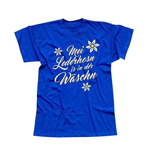 Kostüm Männer Wiesn - T-Shirt Oktoberfest MEI Lederhosn is in der Wäschn Wiesn 13 Farben Herren XS-5XL Tracht Kostüm Volksfest München Festzelt O'zapft Dirndel, Größe: 2XL, Farbe: Royalblau