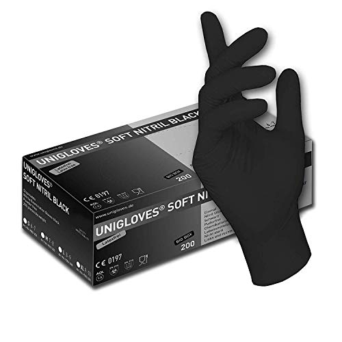 200 Stck - Einweghandschuhe von GUARD 5 - Schwarze Nitril-Handschuhe puderfreie Tätowierhandschuhe Kochhandschuhe (10 / XL)