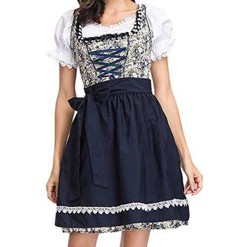 Oktoberfest Kostüm für Damen Bierfest Drucken Kleid Anzug Vintage Elegant Trachtenkleid Dirndl Tavern Maid Dress Traditionelle Kleidung karnevalskostüme Cosplay Weihnachtsfeier Kleider (M, Schwarz)