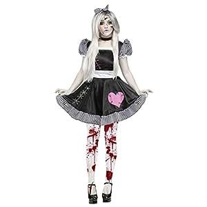 Womens Broken Rag Doll Ladies Black Girl Zombie Ghost