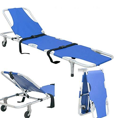 HETAO Medizinische Notfallbahre, Aluminiumlegierung mit Sicherheitsgurt-Rückenlehnen-Rettungsbett tragbar mit 2 Stahlstangen Tragbare Bahre für den Krankentransport