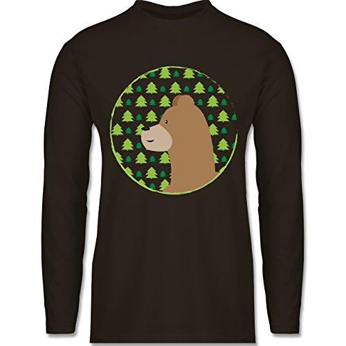 Wildnis - Tiermotiv Bär - Longsleeve / langärmeliges T-Shirt für Herren Braun