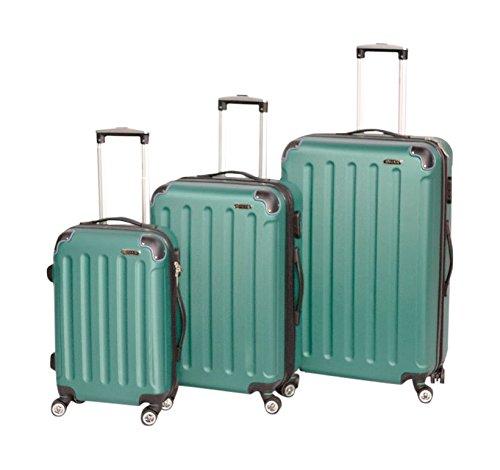 SHAIK  3-tlg. Hartschalen Kofferset, Trolley, Koffer, Reisekoffer, 32/78/124 cm, 110/70/40 Liter, 4 Doppelrollen, 25 Prozent mehr Volumen durch Dehnfalte