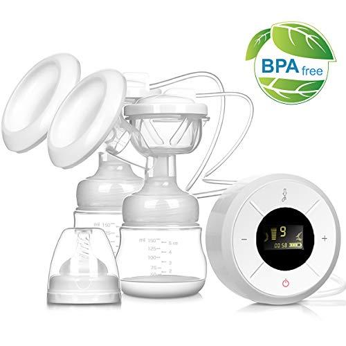 Tiralatte elettrico pompa per messaggi al seno in silicone Automatico Massaggio Grande Capacità Dual Portatile Confortevole 3-Phase 9 Frequencies Viaggio Essenziale