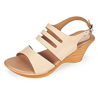 Khadims Women's Beige Synthetic Wedge Sandals - 6
