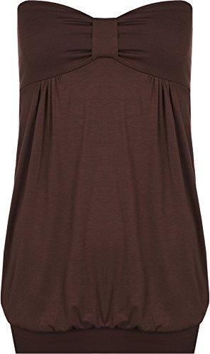 WearAll - Grand Taille Uni Long Bandeau Top Sans Bretelles - Hauts - Femmes - Tailles 44 à 54 Brun Foncé