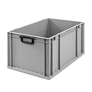 aidB Transportbox NextGen Portable Duo Eurobox mit handlichen Koffergriffen 600x400x320 mm, Transportkoffer mit Griffen