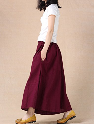 MatchLife Damen Weite Hose Baumwolle und Leinen Culotte Style2-Dunkel Violett