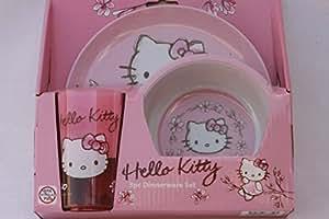 Hello Kitty Ensemble vaisselle 3pièces Set de thé de cuisine Bol potable tasse Plaque