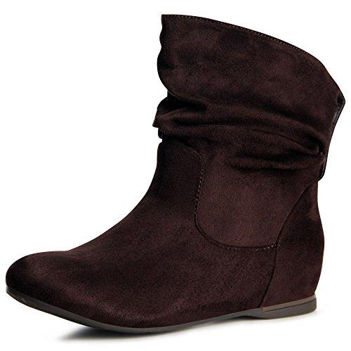 Hidden Wedge Boot (topschuhe24 887 Damen Keilabsatz Stiefeletten Boots Booties, Farbe:Braun;Größe:37)