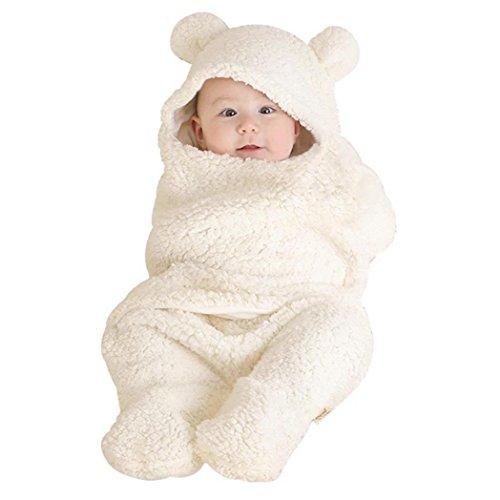 Neonato bambino neonato cute bear style corallo velluto coperta per sacco a pelo bianco white taglia unica