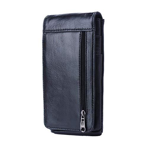 """Hengying Vertical Funda para Cinturón Bolso de Cintura Hombre Cuero Cartera para Teléfono Móvil de 5.5"""" con Clip de Cinturón + Llavero de Piel"""
