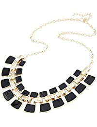 Bold N Elegant Black And Gold Enamel Geometry Glee Square Fashion Choker Collar Pendant Necklace
