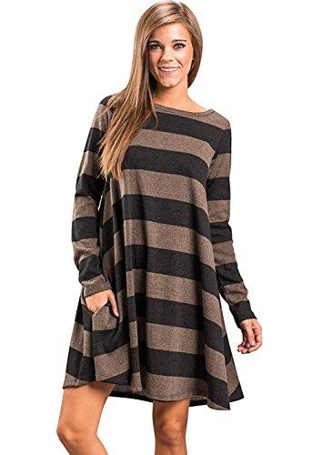 Winfon Tunique Femme Longue Manche Longue Col Round Casual Mini Robe Blouse Top Tee Shirt Long Noir