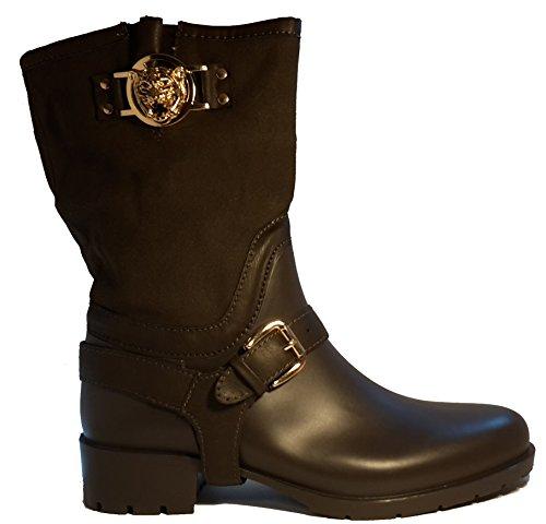 Bottes hautes, chaussures femme, modèle 11094104001009, noir ou rouge, différents modèles et tailles. Noir.