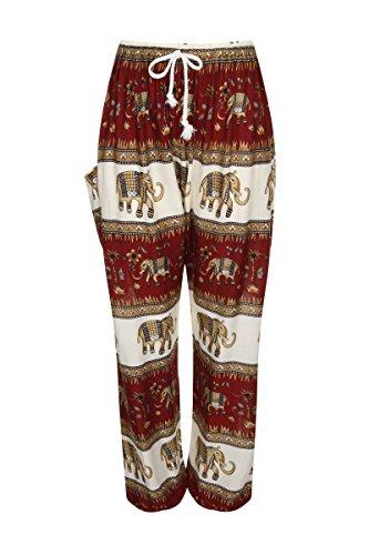 Haremshose - Aladdin Hippie Hose mit Taillenschnürung Elephant Band Wine