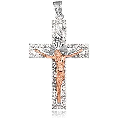 14K dos tonos 585/1000 Oro Blanco y Rosa circonio Cúbico Crucifijo Colgante collar (Libro Con Cadena