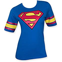 Superman Logo Juniors Royal Hockey Tee (Large, Blue)