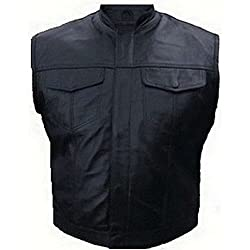 Veste Gilet Cuir Biker Type Sons of Anarchy - Poches Poitrines (S)