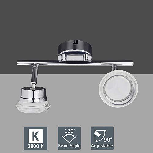 W-Lite Deckenleuchte Schwenkbar, LED Deckenlampe 2 Flammig, 2×4W Warmweiß 3000K, Deckenspot für Wohnzimmer, Schlafzimmer, Balkon, Küche -