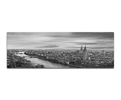 Leinwandfoto als Panorama SCHWARZ / WEISS 120x40cm Italien Verona Stadt Fluss Abendlicht - Weiß Verona-kunst