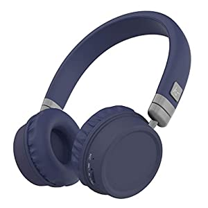 KitSound Harlem Wireless Bluetooth On-Ear Headphones with Mic - Blue