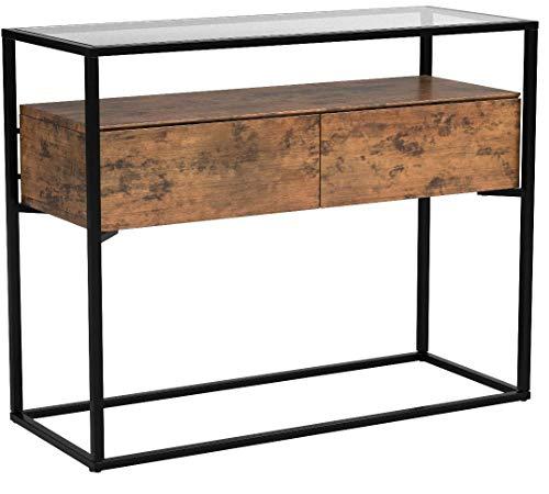 VASAGLE Konsolentisch im Industrie Design, stabile Konsole Glastisch mit 2 Schubladen, Sideboard, Flurtisch, Beistelltisch, Lounge Foyer, Vintage stabil LNT11BX