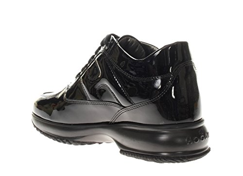 Hogan Donna Sneaker HXW00N00010OW0B999 Interactive Scarpa Allacciata Nero vernice