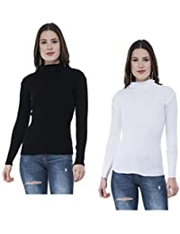 Indistar Women's Woollen Warm Full Sleeves High Neck/Inner/Skivvy for Winter (Multicolour, Free Size) Pack of 2