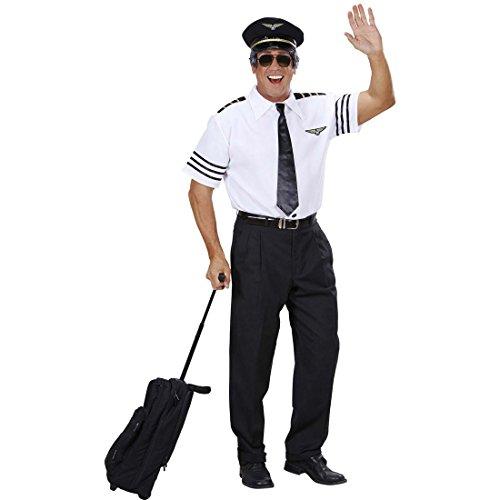 NET TOYS Pilotenkostüm Kapitän Kostüm Set 54 XL Pilot Hemd Mütze Krawatte Piloten Anzug JGA Striptease Uniform Junggesellenabschied Fliegerkostüm Karnevalskostüme Herren ()