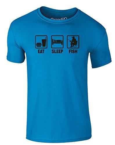 Brand88 - Eat Sleep Fish, Erwachsene Gedrucktes T-Shirt Azurblau/Schwarz