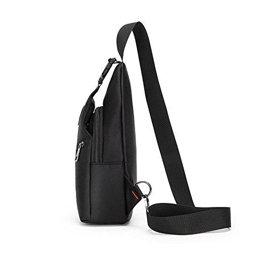 Herren wasserdicht verschleißfest Brusttasche Schleuder Tasche für Sport Outdoor Reisen Schwarz