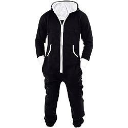 L-Peach Unisexe Pyjamas Combinaison Zippée à Capuche Adulte Jogging Onesie Cosplay Costume Noir M