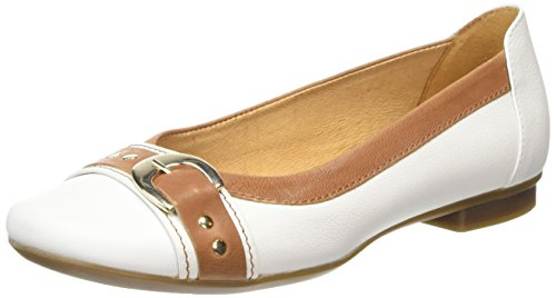 Gabor  Indiana,  Damen Ballerinas , Weiß - White (White Leather/Tan Trim) - Größe: 39 EU (Leder Jane Tan Mary)