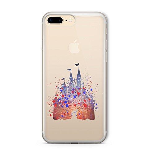 ioutlet Disney-Stil Charakter Fan Art Splatter KLAR Silicone handyhülle Telefonhülle für iPhone 5c Blue Castle Plain