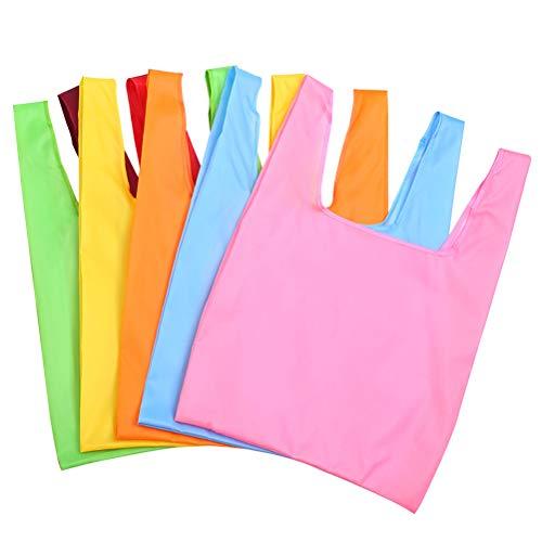 OUNONA Einkaufstasche Tote Falten Tasche Handtaschen kreative Faltbare quadratische Bequeme große Kapazität Aufbewahrungstasche (zufällige Farbe) 5pcs (Tote Bag Großhandel)