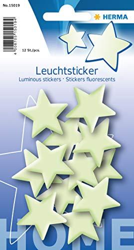 Herma 15019 Leuchtsticker Sterne klein, ablösbar & wieder verwendbar, für Kinder)