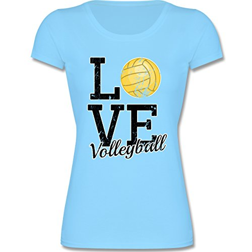 Shirtracer Sport Kind - Love Volleyball - 164 (14-15 Jahre) - Hellblau - F288K - Mädchen T-Shirt (Volleyball T-shirt Love)