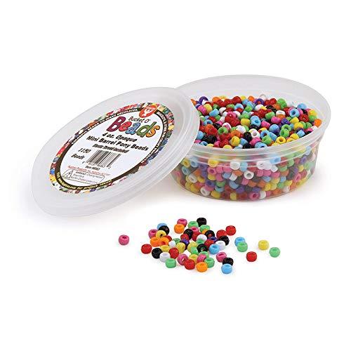 Hygloss Products 6863 Mini Barrel Pony Beads, 4 Oz, 1,150 Pcs, Opaque -