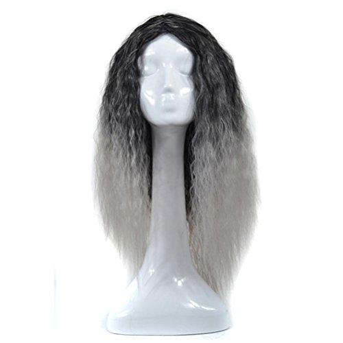 Mais wellenförmig lockig, ESAILQ Frauen Art und Weisedame mischte lange Mais wellenförmige lockige Perücke Steigung Haar (A-grau) (Hippie Make Up Und Haare)