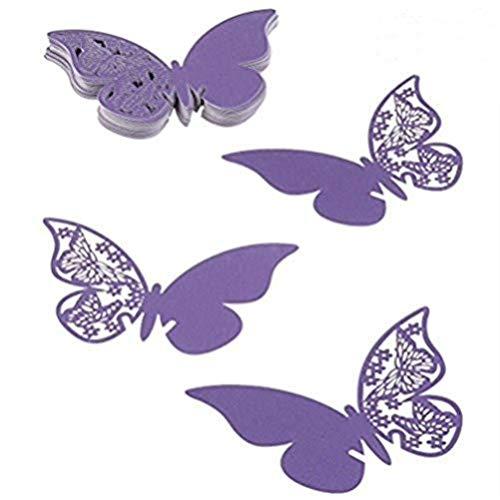 100pcs mariposa tarjetas de lugar tarjetas de mesa nombre tarjeta de copa de vino taza tarjetas postales de decoración pared adhesivos adhesivo para compromiso, boda, ducha de una fiesta