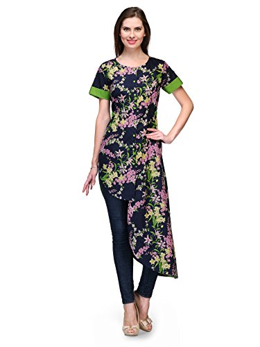 Raas Prêt Fashionable Navy blue floral print cotton assymetrical cape styling shirt top w/ green finishing detail