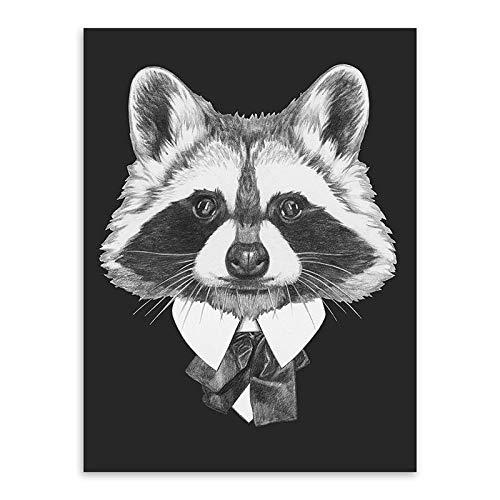 zgmtj Schwarz und Weiß Mode Mafia Hipster Tiere Hund Katze Poster Drucke Vintage Nordic Wandkunst Bilder Wohnkultur Leinwand Malerei - Museum Putty