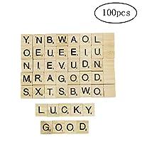 Letter Blocks 100 Pcs DIY Wood Letters Tiles Scrabble Tiles Complete Set for Crafts, Spelling, Pendants