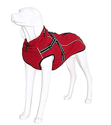 Dog Jacket with Harness, Windproof Dog Vest with Reflective Strips for Medium Large Dogs, Warm and Cozy Dog Sport Vest, Dog Winter Coat, Warm Dog Apparel with High Neckline Collar by Morezi