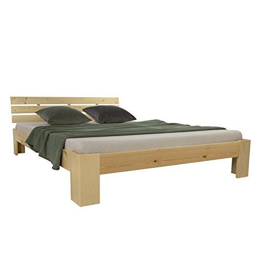 Homestyle4u 1838 Holzbett 160x200 cm Natur Doppelbett mit Lattenrost aus Kiefer Massivholz