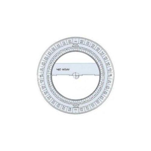 Arda - Goniometro a 360 ° 12 centimetri linea uni - regola (polistirolo, trasparente, 120 mm) - 12 Di Plastica Trasparente Righello