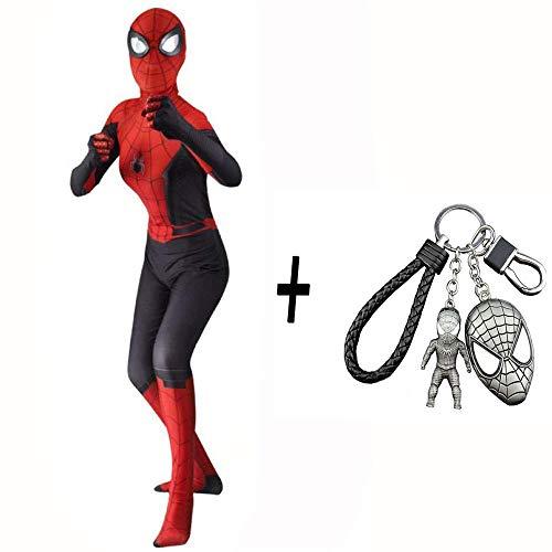 WEDSGTV Spiderman Kostüm Erwachsene Kind Cosplay Lycra Strumpfhosen 3D Print Spandex Kleid Kostüm Requisiten Overall Party Halloween Weihnachten + Spiderman Keychain - Macht Party Stadt Haben Kostüm