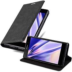 Cadorabo Coque pour Sony Xperia Z1 en Noir Nuit - Housse Protection avec Fermoire Magnétique, Stand Horizontal et Fente Carte - Portefeuille Etui Poche Folio Case Cover